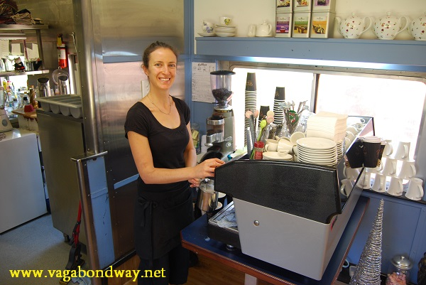 Tiff working as a barista in Australia.