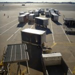 Delta  luggage containers en route to Africa