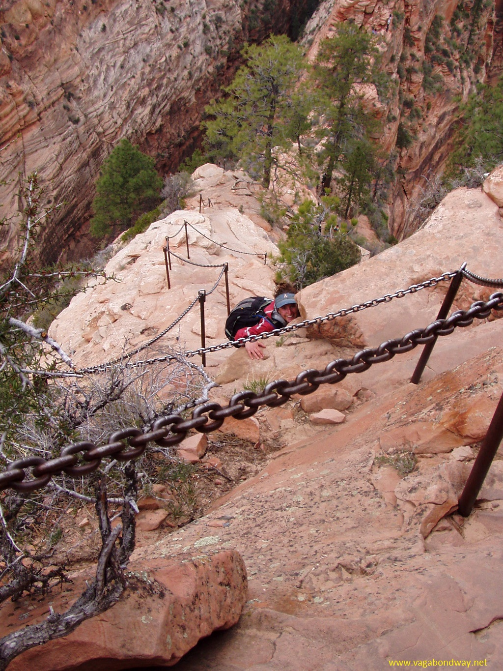 Steep trail in Zion National Park, Utah
