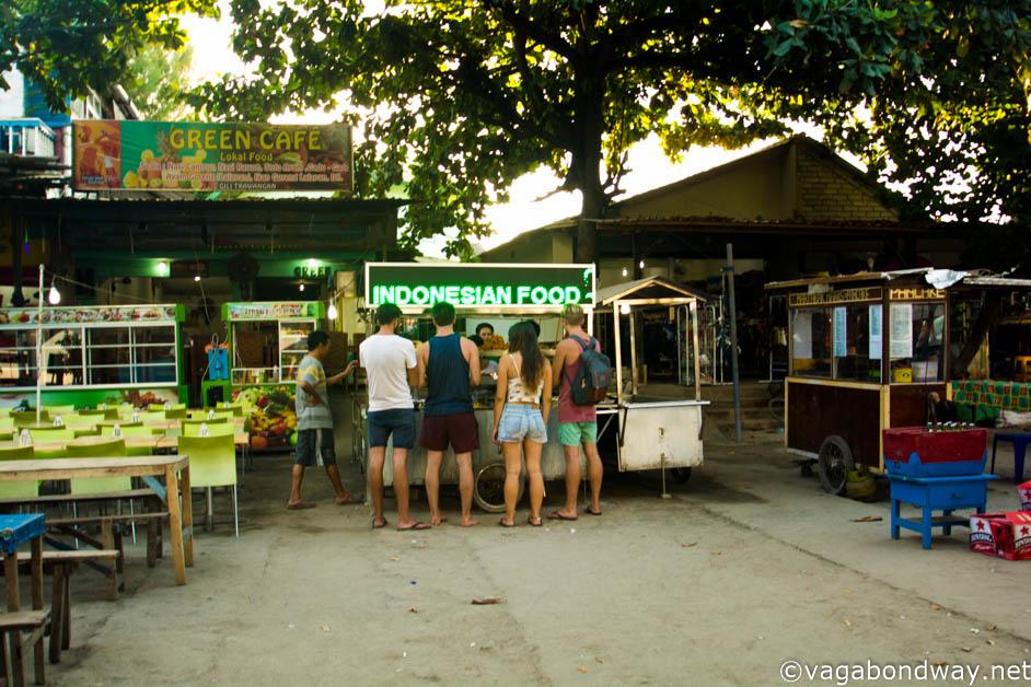 Tourist eating on Gili Trawangan (1 of 1)