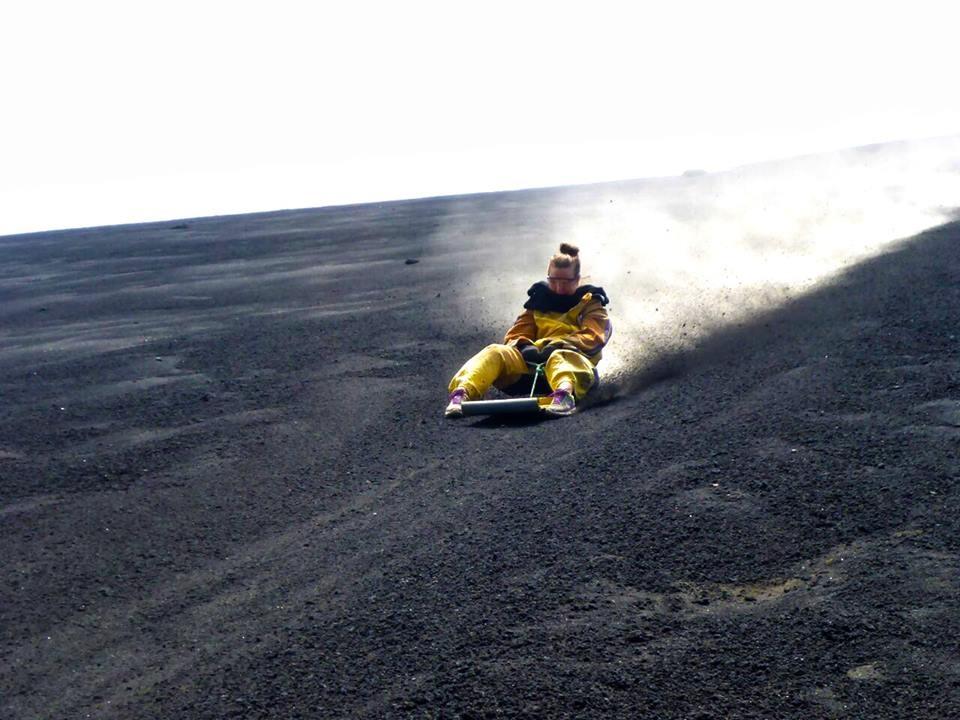 Jessica Volcano Boarding Nicaragua
