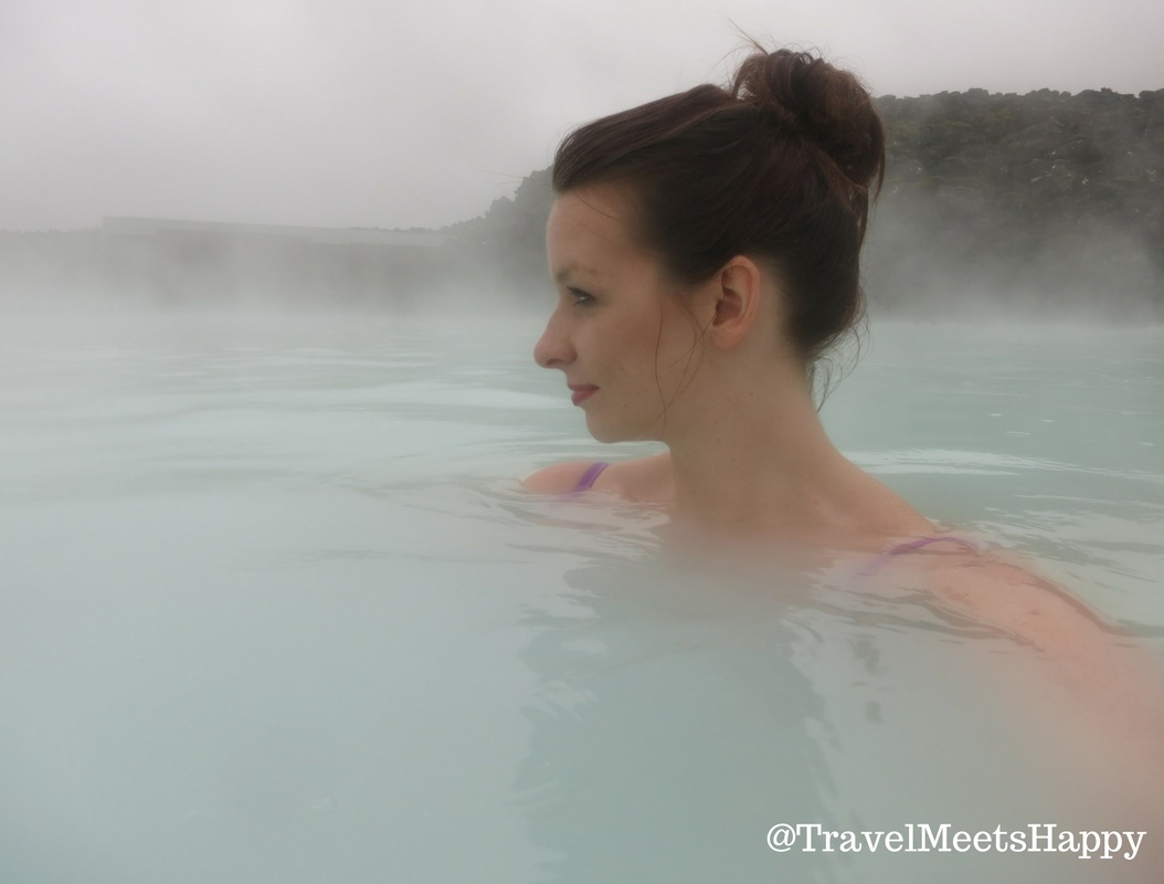 Relaxing in the Blue Lagoon in Iceland.